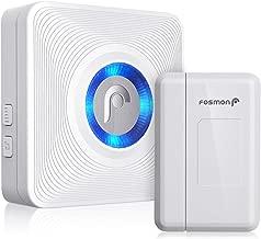 Fosmon WaveLink 51004HOM Wireless Door Open Chime (500 Feet, 52 Tunes, 4 Volume Levels, LED Indicators) 1 Magnetic Door Entry Alert Security Contact Sensor and 1 Wireless Doorbell Plugin Receiver