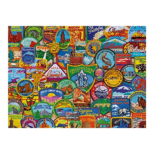 Wooden Puzzle 500 Pieces Puzzles, Jigsaw Puzzles-National Park Patches, Educational Intellectual Decompressing Fun Game for Kids Adults Toy 20.5'x15' inch