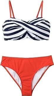 Women's Black Stripe Tangerine Wrap Bikini Sets Two Piece Swimsuit