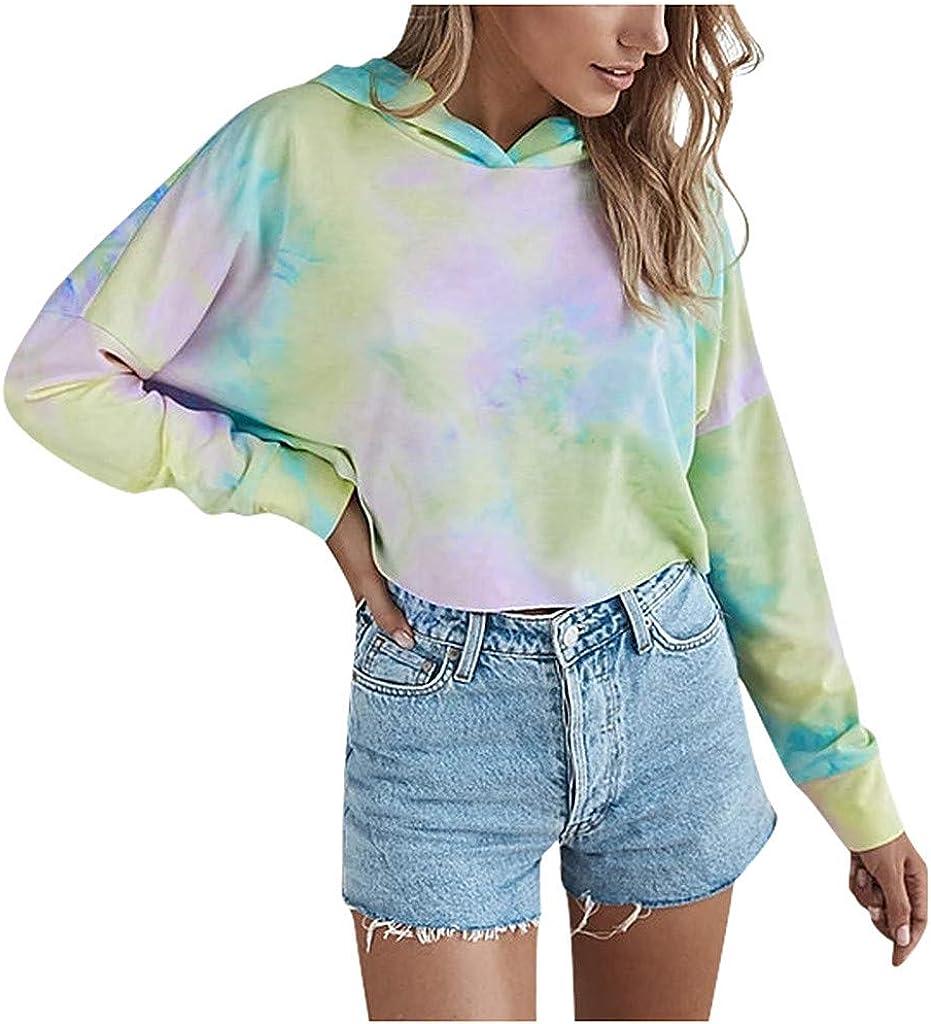 Sweatshirt for Teen Girls,Women's Casual Tie-dye Print Long-sleeved Gradient Hooded Crop Tops Pullover Tops Hoodies