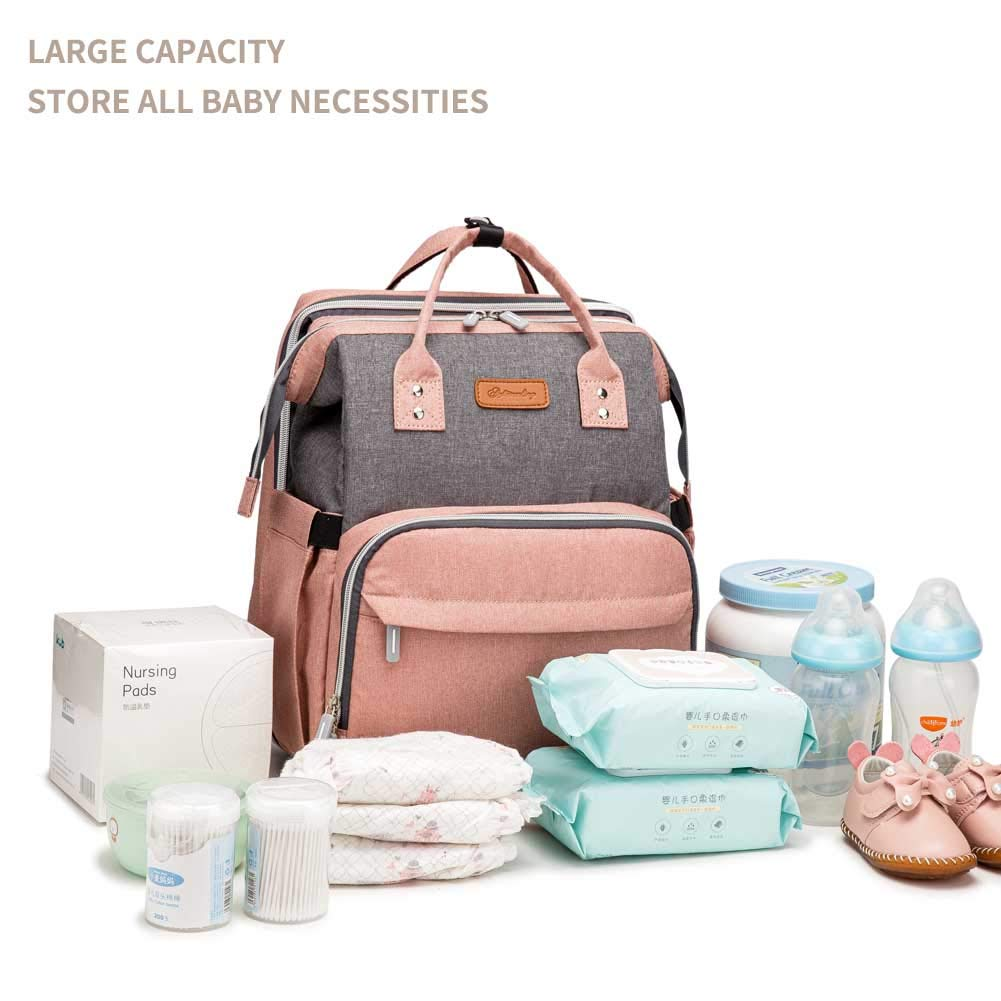 Diaper Bag Backpack, Multifunction Travel Waterproof Baby Diaper Bag, Portable Changing Bassinet,Extra Spacious with Pockets to Store All Baby Necessities,Functional and Stylish Gift for Parents