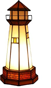 Bieye L10626 Lighthouse Tiffany Style Stained Glass Accent Table Lamp Night Light, 6