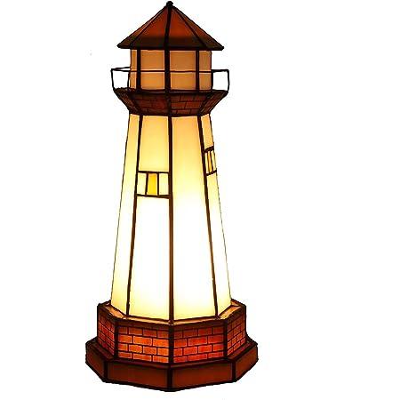 Bieye照明L10626 和風スタンドランプ 灯台 ステンドグラスランプ インテリアライト 枕元ライト 枕元スタンド 雰囲気ランプ テーブルランプ オシャレ ベッドサイドランプ 癒しグッズ テーブルランプ 日式ランプ ステンドグラス ベッドサイド