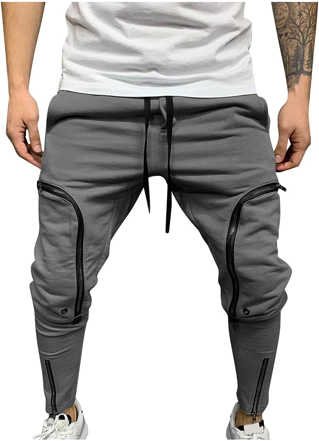 aihihe Cargo Pants for Men with Pockets Relaxed Fit Casual Loose Plus Size Outdoors Sports Trousers Sweatpants