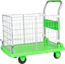 Handling Trolley high-Speed Rail Station with Brake Small cart Flatbed Folding cart Cargo Belt Fence Load 600 kg 90x60xH90cm