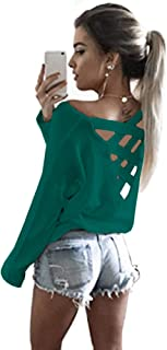 Yingkis Women's Cut Out Loose Pullover Criss Cross Backless Sweater Shirt Top