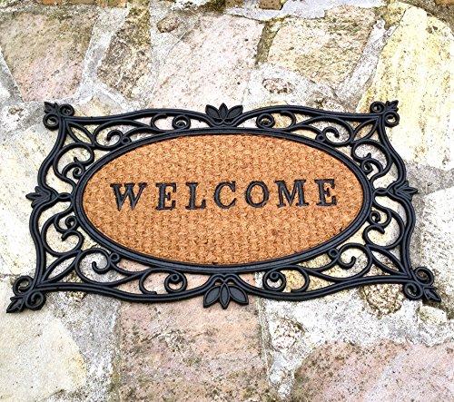 Antikas - Fußmatte Welcome, Matte für den Hauseingang -Türmatte im Landhausstil Gummimatte