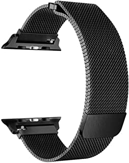 Milanese Loop Stainless Steel Bracelet Strap Band With Magnet For Apple Smart Watch 38MM-Black