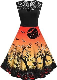 CUCUHAM women Casual Vintage Sleeveless Print Halloween Housewife Evening Party Dress