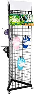 Gridwall Panel,2 x 6.3FT Triangle Wire Grid Tower 3-Side Floorstanding Display Rack Portable Rolling Rack Cart Iron Mesh Frame with Base,Hooks and Casters(with Brake) for Retail,Art,Home Organizer