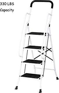 3-Step Ladder with Attachable Tool Bag 500lbs Capacity Stool Foldable Ladder with Safety Side Handrails Non-Slip Wide Pedal for Home Office Projects