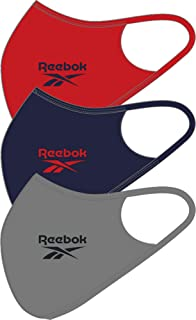 Reebok Face Cover Small, Pure Grey /Vector Navy/Vector red (Pack of 3)