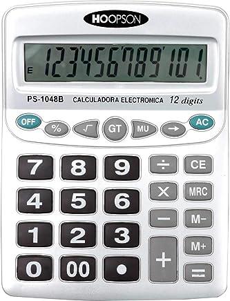 Calculadora De Mesa 12digitos Pilha Aa Grande Prata - 01 Unidade Hoopson, Multicor