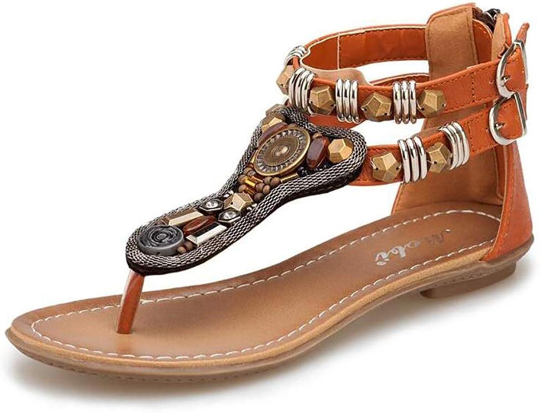 Women's Summer Bohemia Rivet Low Casual Sandals Flip Flops