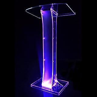 BKWJ Pupitre de présentation en Acrylique Transparent, Podium de conférence avec lumière LED et télécommande, Bureau de Le...