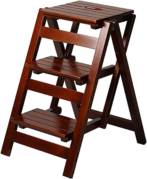 Step Stool Solid Wood Ladder Stool Folding Fold Up Library Steps Stool Multifunctional Wooden Shelving Ladder For Kitchen Office Use Ladder Chair With 3 Steps 150kg Capacity