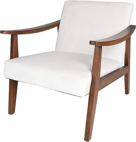 Zenvida Mid Century Modern Accent Armchair Solid Hardwood Upholstered