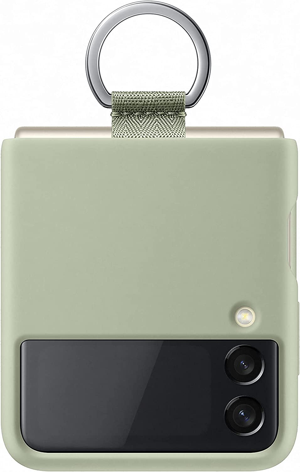 Samsung Galaxy Z Flip 3 Phone Case, Silicone Protective Cover with Strap, Heavy Duty, Shockproof Smartphone Protector, (Olive Green)