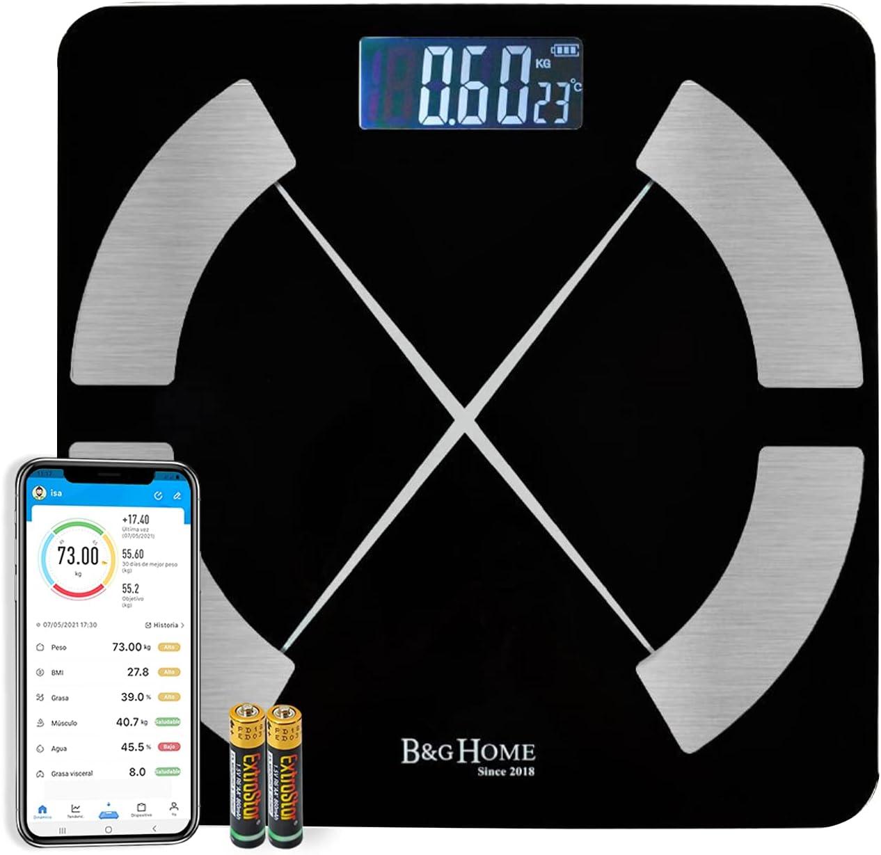 MERCURY TEXTIL - Bascula grasa corporal,bascula de baño. Analiza 8 Funciones, Monitores de Composición Corporal con App para Peso Corporal, Grasa, Agua, IMC, BMR, Masa Muscular (MOD A OSCURO)