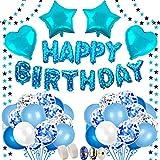 BAKHK Geburtstag Deko Jungen , Happy Birthday Blaue Folienballons, 4M Girlande mit Sternen, 50...