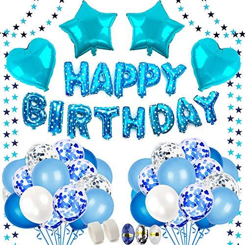 BAKHK 61 Stück Geburtstag Deko Jungen , Happy Birthday Blaue Folienballons, 4M Girlande mit Sternen, 50 Stück Latexballons (Konfetti, Blau, Hellblau und Weiß), für Party, Partydekoration