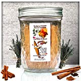 600 Eucalyptus Cinnamon Flavor Natural Wooden Toothpicks in Glass Jar with Lid – Use to Quit Smoking and Freshen Breath After Food and Drink – An Alternative to Gum, Mints and Cigarettes