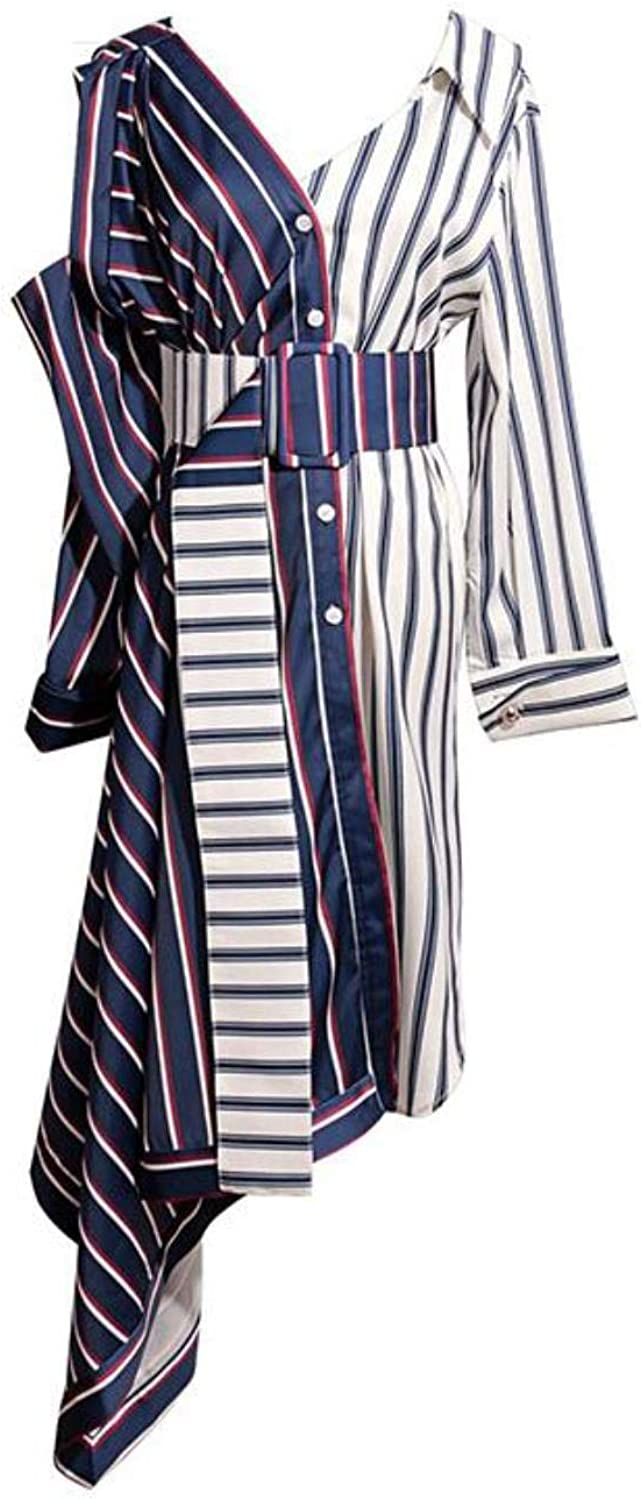 CoHeiy Women Asymmetrical Shirt Off Shoulder Striped Sexy with Wide Belt Patchwork Dress