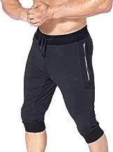 BROKIG Men's 3/4 Sidelock Joggers Capri Pants Gym Workout Cotton Shorts with Zipper Pockets