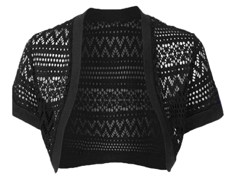 desolateness Womens Lace Shrug Jacket Long Sleeve Crop Top Cardigan Bolero