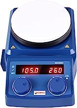 چهار آزمایشگاه E50 مغناطیسی داغ صفحه نمایش دیجیتال LED E 5 اینچ با صفحه سرامیکی صفحه 100-1500RPM ، 5L ، 600W برای آزمایشگاه علمی - Plug US
