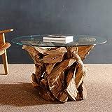 Wurzelholz Couchtisch Beistelltisch IKAL inklusive Glasplatte 80 cm | Tisch aus Wurzel fürs Wohnzimmer in Handarbeit gefertigt | Wurzelholztisch Massiv rund | Wurzeltisch von Möbel von ExotischerLeben - 2