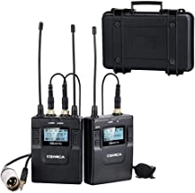 Comica CVM-WM300(C) 96-Channel Zinc Alloy UHF Professional Chargable Dual Wireless Lavalier Microphone System for Canon 5DII/5DIII,6D,Panasonic GH4/GH5,XLR Camcorder Camera& Smartphone(394-Foot Range)