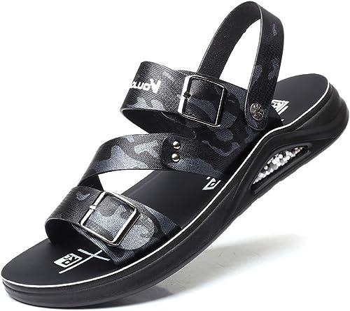 LQ Herrensandalen Sommerliche Wilde Strandschuhe, Ledersandalen für Herren, geschnürte Outdoor-Sandalen aus Gummi, atmungsaktive Outdoor-Schuhe mit undichten Zehen (Farbe   B, Größe   39 EU)