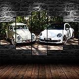 AWER 5 piezas de lienzo de arte de pared Escarabajo viejo .vs nuevo coche Imágenes Póster Impresión En Hd Estilo Abstracto Cuadro decoración Estilo Piasaje Regalo marco de madera 5 Piezas