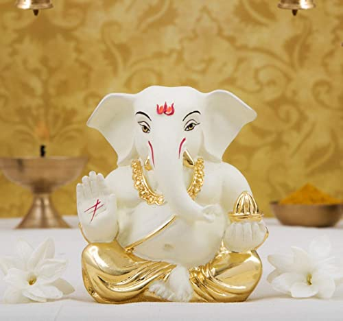 Gold Art India Ceramic Appu Ganesha Idol, 5x4x3cm, Gold