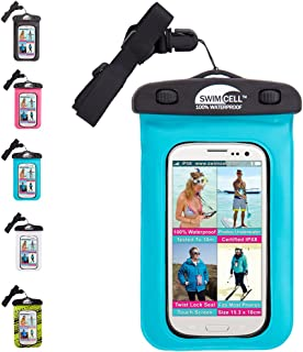 SwimCell #1 Waterproof Phone Case Pouch for iPhone and Android,Certified IPX8. Tested Underwater. Patented, Easy to Use Twist Seal.