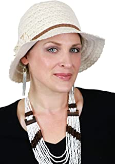 Summer Hat for Women Cancer Headwear Lace Cloche Packable Travel Sun 100% Cotton Small or Medium Heads