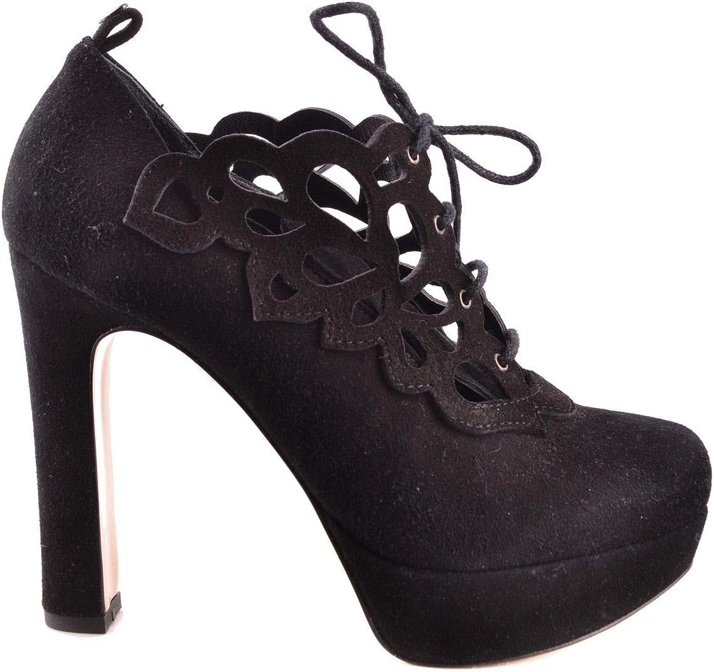 TWIN-SET Women's MCBI29854 Black Leather Heels