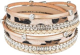 lureme Leather Leopard Wrap Bracelet with Rhinestones Magnetic Clasp Bracelet for Women (bl003513-4) Khaki