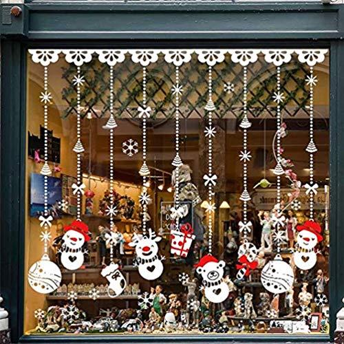 EDOTON Fensterbilder Weihnachten Selbstklebend Abnehmbare Fensterdeko Statisch Haftende PVC Aufkleber Winter Dekoration Fensterdeko Set 4 Blatt