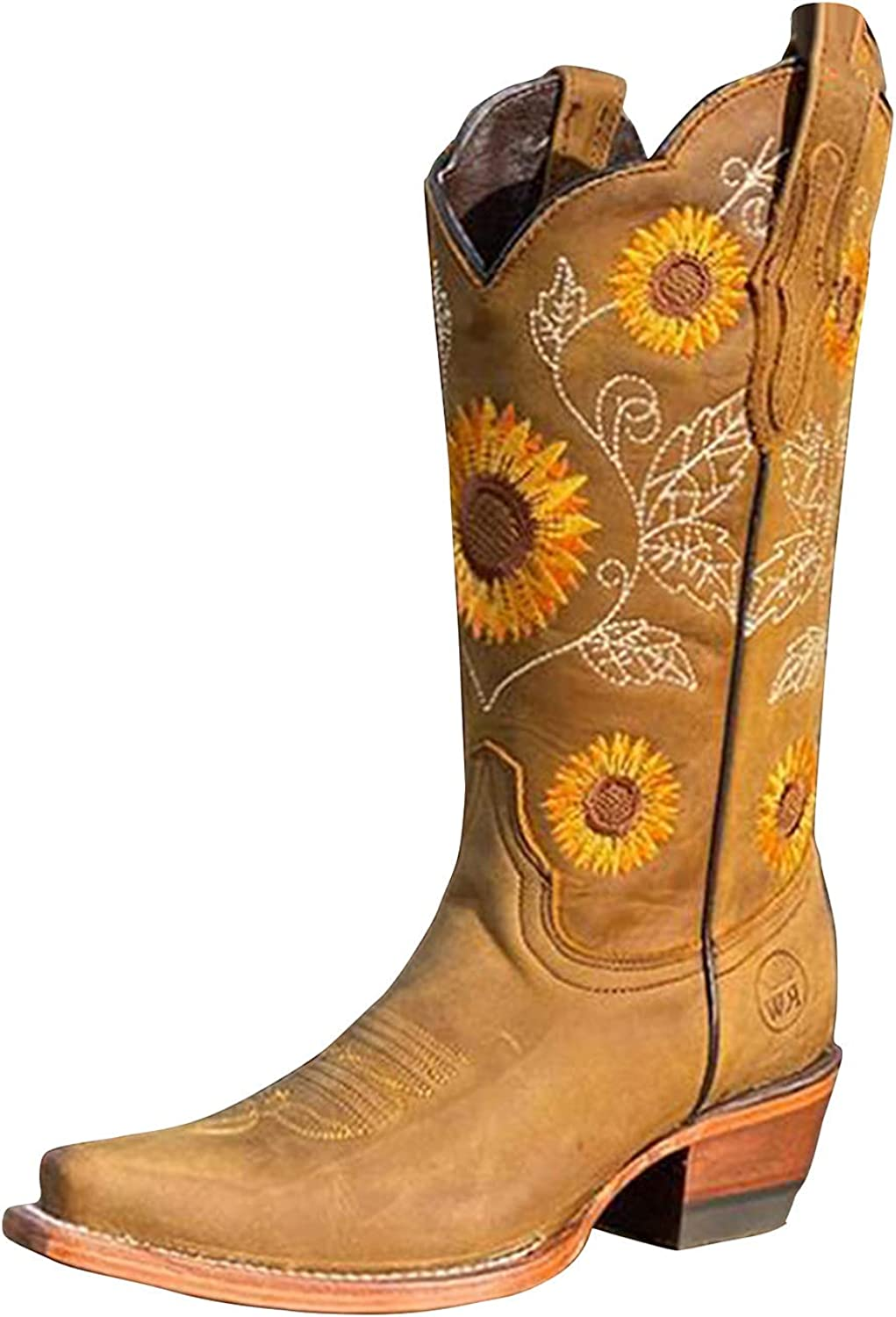 Western Boots for Women Sunflowers Embroidery Cowboy Boots Mid C