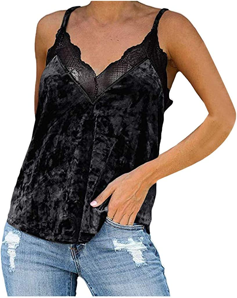 Women's Silk Satin Camisole Plain Strappy Vest Tops Lace Patchwork V-Neck Sleeveless Blouse Casual Tank Tops