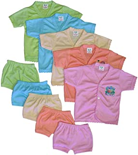 Raja Dresses Baby's Poly cotton Solid Color T-Shirt and Shorts Combo Set (Multicolored, 0-6 Months), Pack of 10