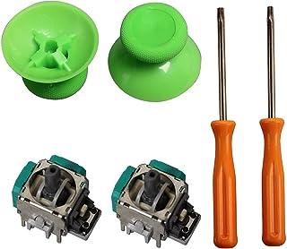 Joystick Controller Buttons,eJiasu 2 Piece 3D Joystick Wireless Controller Rocker+ T8/T10 Screwdrivers Tool+ 2 Pieces Thumbsticks Replacement Parts for Xbox One Controller(One Set Green)