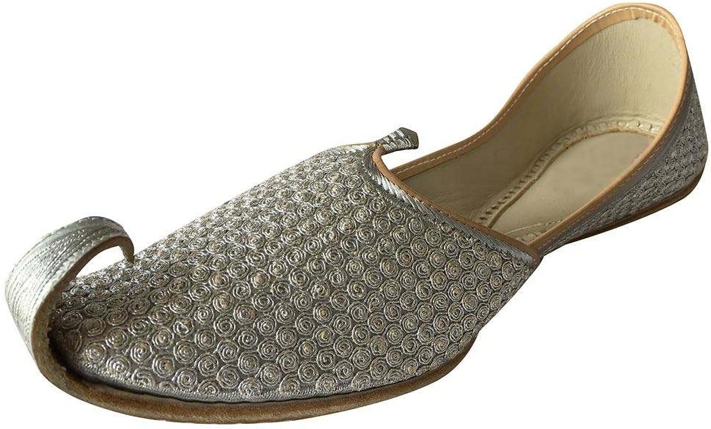 Step n Style Men Traditional Indian Khussa Sherwani shoes Leather Khussa Mojari Juti Silver