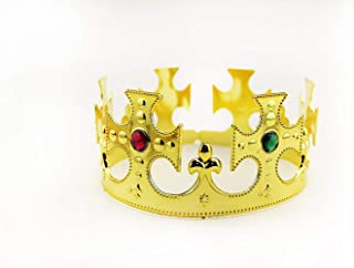 Adorox Gold Royal King Plastic Crown Prince Costume Accessory Adult/Kid (1) (Medieval)