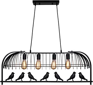 Unitary Brand Vintage Black Metal Bird Cage Design Dining Room Island Lighting with 4 E26 Bulb Sockets 160W Painted Finish