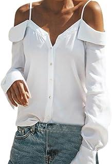 Donna con Spalle Scoperte KOLY T-shirt Camicia Maniche Lunghe Maglia Casuali delle Camicette Blusa Manica a Tromba Scoperte Camicia Maglietta Camicetta a Cappuccio Casual Tops