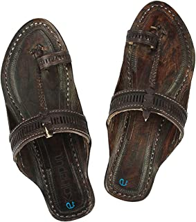 KALAPURI Womens Comfortable Cusioned Kolhapuri Chappal in Genuine Leather with Black Pointed Shape Base and Traditional Ti...