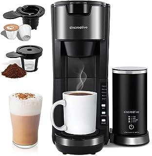 قهوه ساز با شیرخشک ، قهوه ساز تک فنجان برای K Cup Pod و قهوه آسیاب شده قهوه ساز سریع سرو دم کرده ، 6 تا 14oz اندازه قهوه جوش فشرده